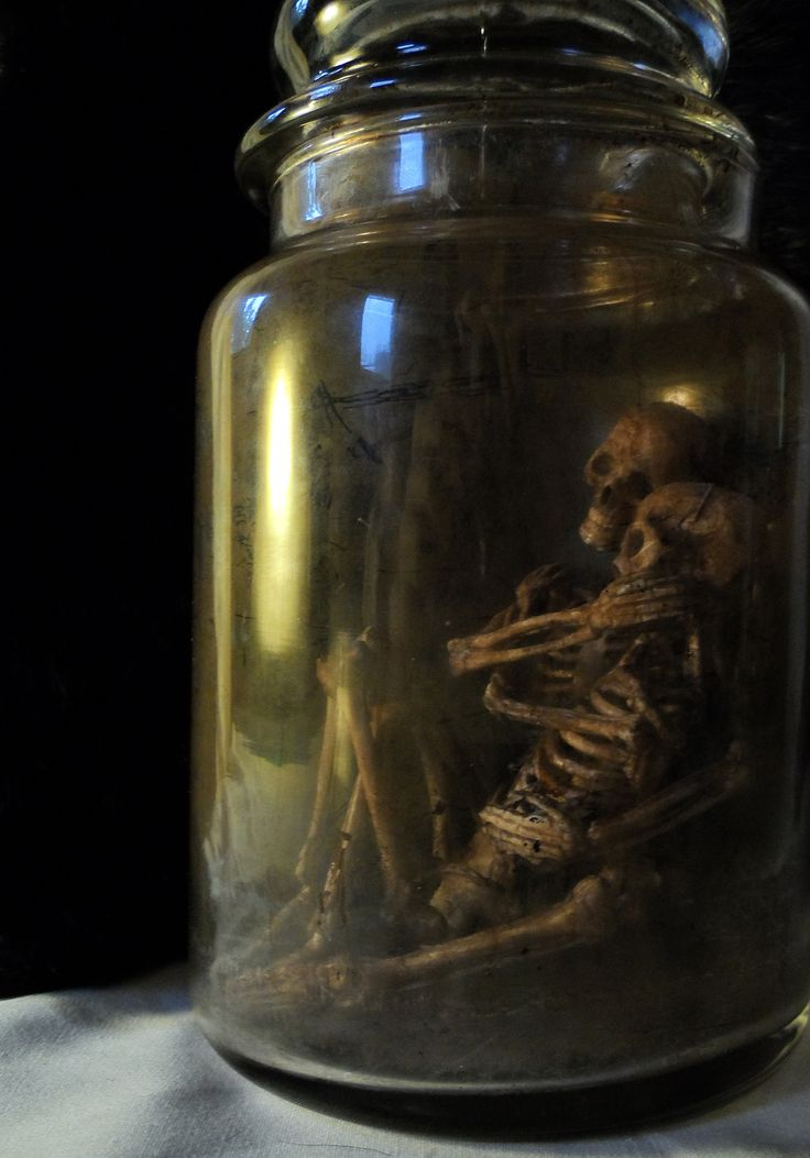 Creepy skeletons in a bottle