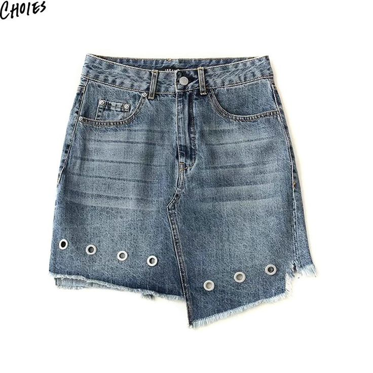 Blue Light Wash High Waist Eyelet Asymmetric Denim Mini Skirt Women Casual Novelty High Street Style Hollow Out A Line Skirts  #dress #womensfashion #shopnow #instacool #fashionable #haute #streetfashion #loveit #love #fashionblog