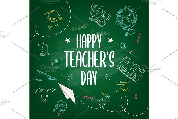 Happy Teachers Day Chalk Background In 2020 Happy Teachers Day Teachers Day Teacher Creativity