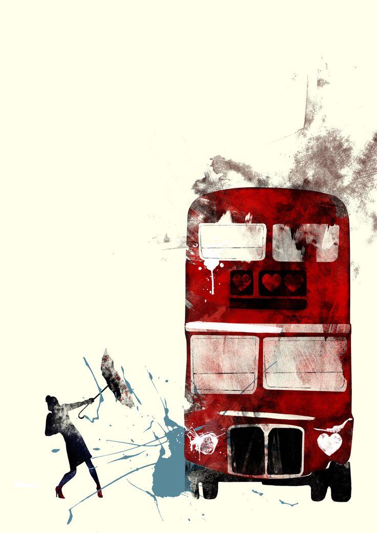London Bus Graphic Print. £16.00, via Etsy.
