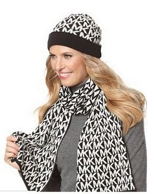 MK 2 Piece Scarf and Beanie Hat! $88.00  http://www.coolcoolhats.com/  #hats #fashion #beanie #caps
