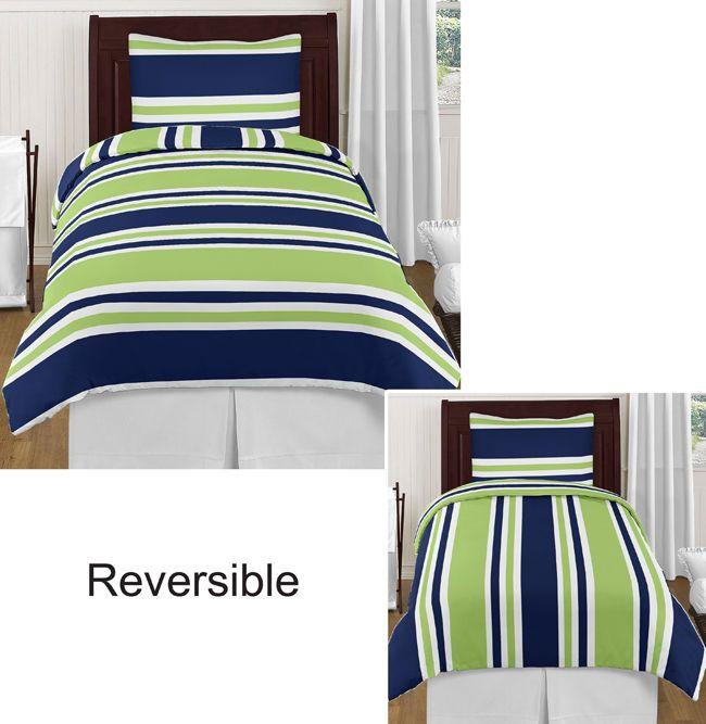 navy blue lime green white stripes twin boy bedding comforter set kids bedroom bed sets. Black Bedroom Furniture Sets. Home Design Ideas