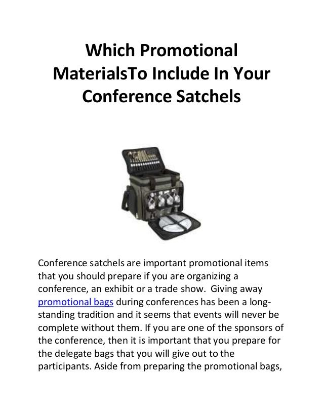 Which promotional materials to include in your conference satchels by Steve Charles; Promo items, promotional material, Conference satchels, promotional bags, promotional items