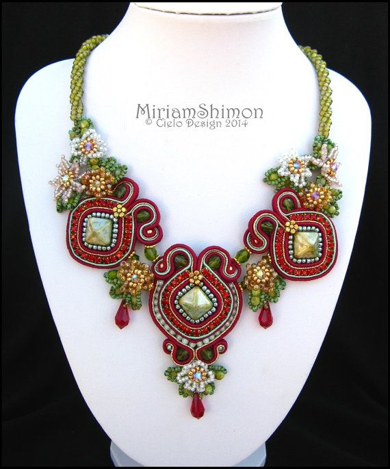 Soutache necklace with Beaded flowers in burgundy, green, gold, pink, orange and white - Miriam Shimon