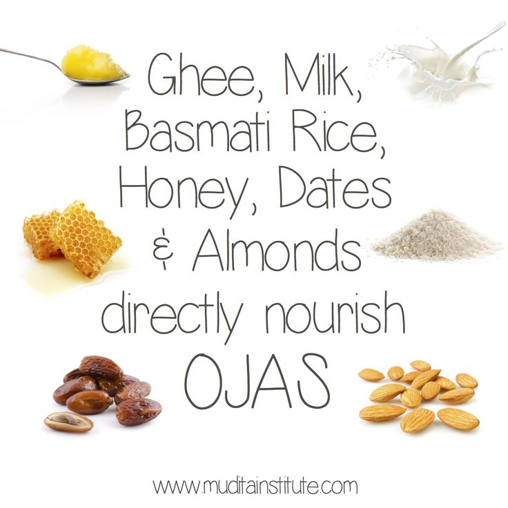 In Ayurveda, ghee, unhomogenised organic/biodynamic milk, honey (not heat-treated), dates and almonds are said to directly nourish our 'Ojas'. Ojas is a subtle substance in our body that is considered the primary support for our immune system protecting us from both internal and external causes of disease. Ojas supports our lifeforce (Prana) and is the source of our strength, power, patience, faith and mental resilience.