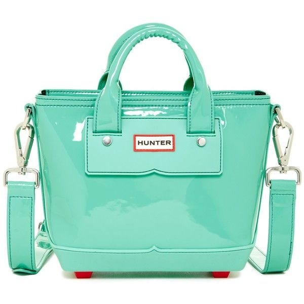 Hunter Original Patent Mini Tote ($160) ❤ liked on Polyvore featuring bags, handbags, tote bags, tourmaline green, hunter tote, zip top tote, patent tote, patent handbags and green patent leather purse