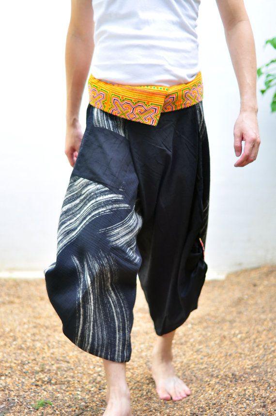 Thai fisherman pant men  Thai Style Black and by SiamTrendy, $35.00