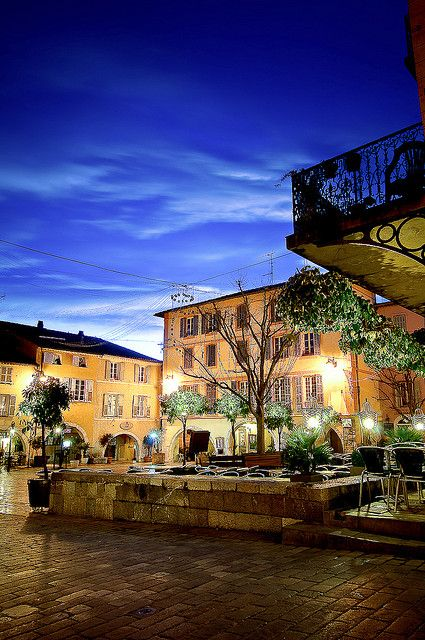 Valbonne, France. The village square at night. I spent 6 wonderful years in this place: Paradise!