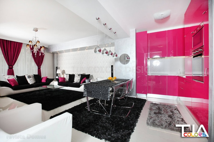 open space fuchsia kitchen