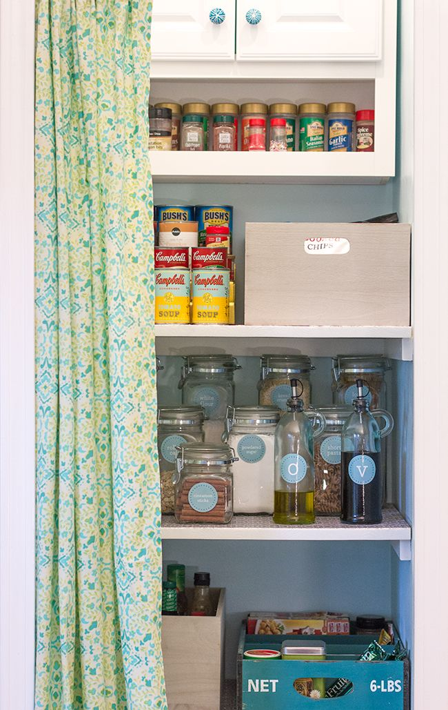 Pantry Details: No Sew Curtain, Tiered Shelf I Need To Do This For My
