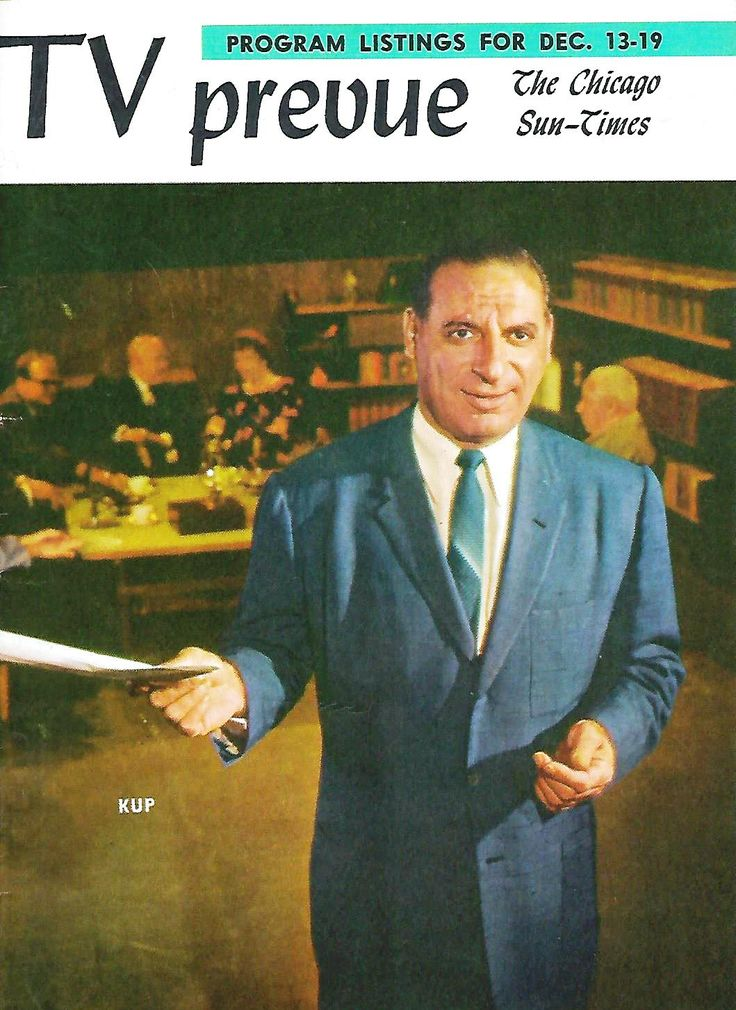 "Irv Kupcinet on the cover of the Chicago Sun-Times ""TV Prevue"" - December 13-19, 1959."