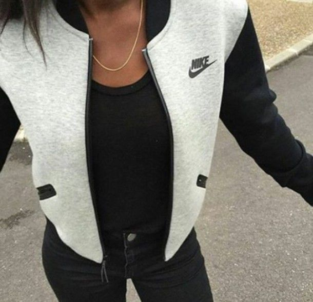 nike grey jacket baseball jacket nike sportswear casual trendy jacket grey black…