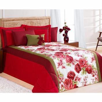 f388b64c47 Kit Edredom Casal Queen Savana 6 Peças c  Almofada e 4 Porta Travesseiros -  Vermelho