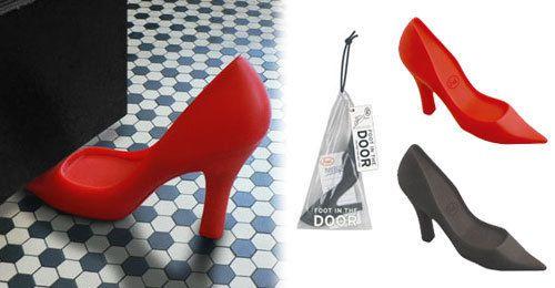 Fred and Friends Foot in the Door Black Red Doorstop Wedge High Heel Pump Shoe