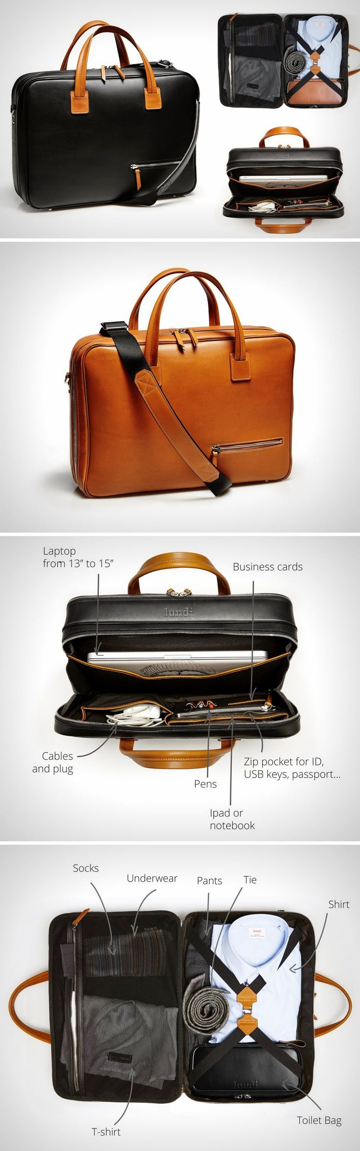 While most bags attempt at multitasking by being work-bags, travel-bags, weekend-bags, gym-bags, etc., dappling with modularity and adaptability, the Lundi travel bag isn't a jack of all trades, but rather, a master of one domain. Creating a new category of bags designed with not activities in mind, but rather hours spent pursuing them, the Lundi is the world's first 36-hour Travel Bag, built specifically for being the best partner for your short business trip.