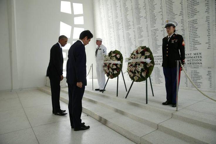 Abe y Obama en el 75 aniversario del ataque a Pearl Harbor
