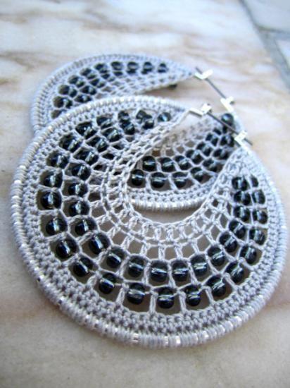 argollas de crochet y abalorios pendientes hilo acrilico crochet