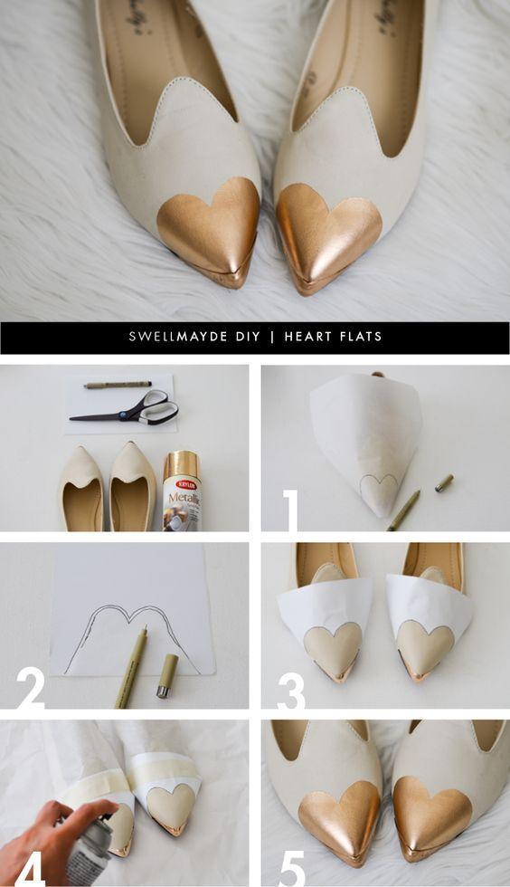 DIY Heart Flat Shoes Tutorial - www.adizzydaisy.com
