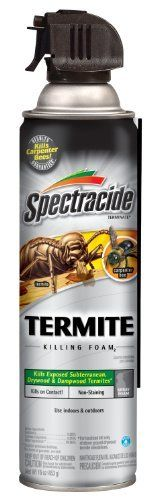 Spectracide 53370 Termite Killing Foam, 16-Ounce Aerosol by Spectracide. $10.97. Also kills carpenter bees. Kills exposed drywood, dampwood and subterranean termites on contact. Special nozzle directs spray, treating areas that are hard to reach. Foaming formula expands into areas such as voids and channels in damaged wood, behind veneers and in cracks and crevices. Use indoors and outdoors, non-staining formula. Spectracide Termite Killing Foam, 16-ounce Aerosol - 53370
