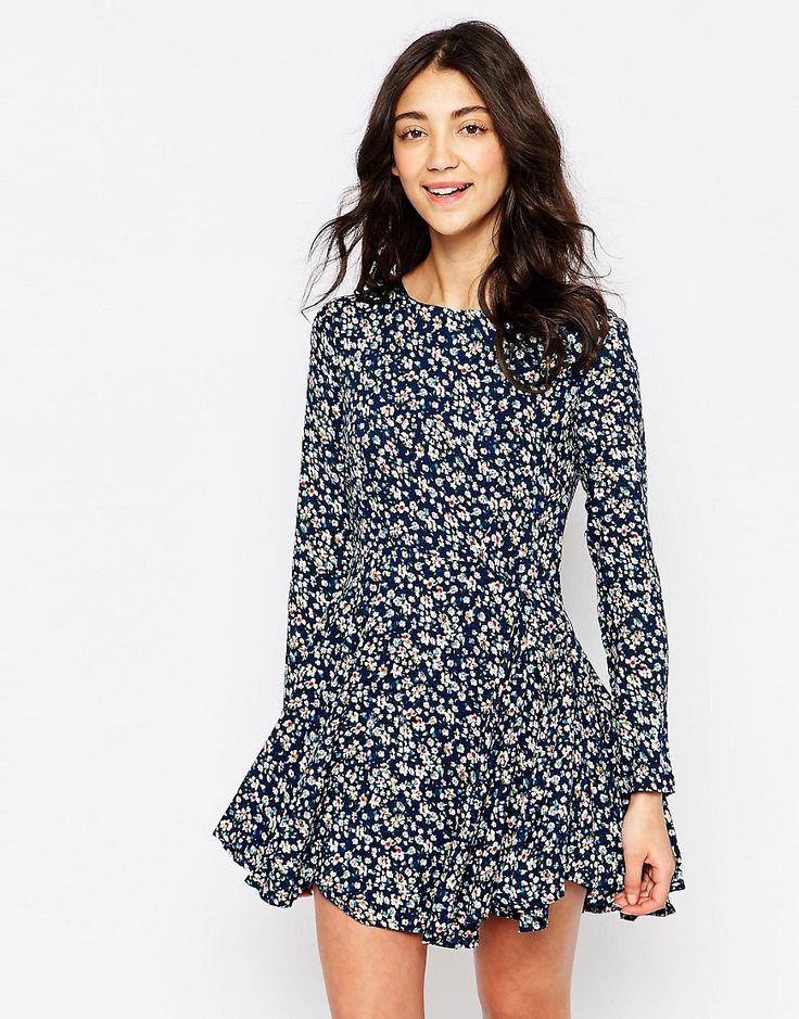 Yumi+Ditsy+Print+Dress+with+Long+Sleeves