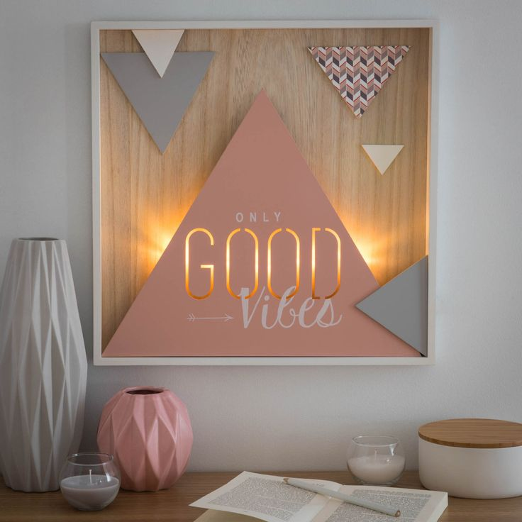 GOOD VIBES light-up wooden wall art 40 x 40 cm | Maisons du Monde