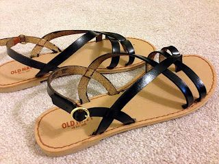 When I ripped off all the painter's tape, I had my perfect pair of black sandals!