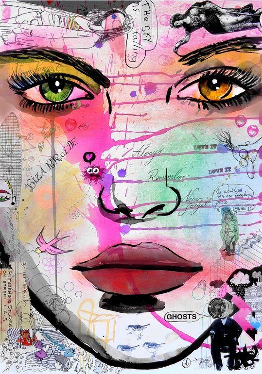 "Saatchi Art Artist: Loui Jover; Ink 2014 Drawing ""falling ghosts"""