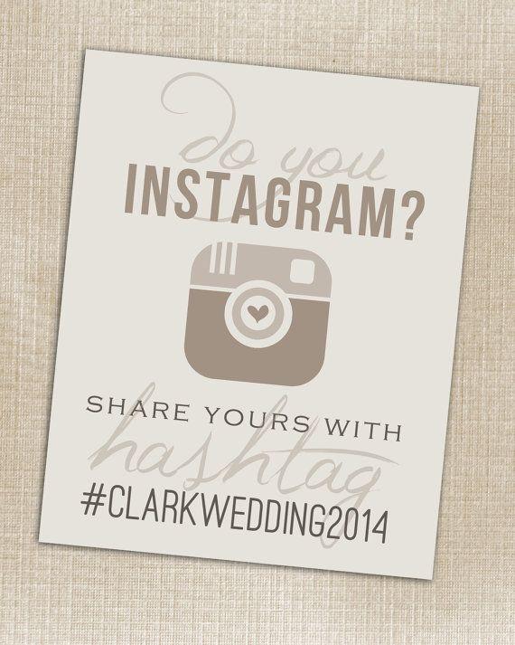Hashtag Print - Wedding Instagram Beige - Printable