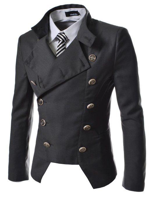 TheLees (NJK4) Manns leger doppelt Breasted High neck Slim fit Short Blazer Jacke: Amazon.de: Bekleidung