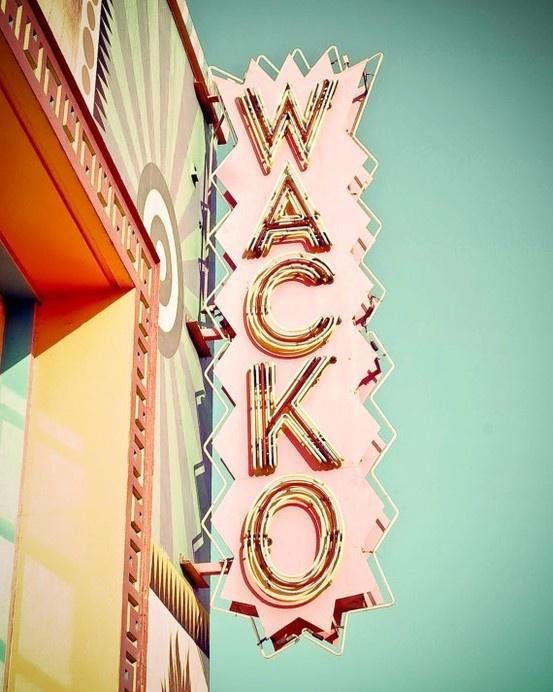 Roadside Sign Wacko Hollywood Teal Green Turquoise Peach Neon