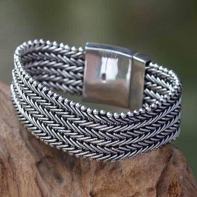 Men's wristband bracelet, 'Armor' – Sterling Silver Chainmail Bracel… – Accessories men