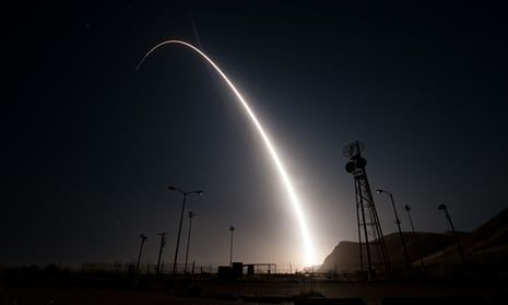 An intercontinental ballistic missile with a simulated warhead is launched during an operational test at Vandenberg air force base in California in April.