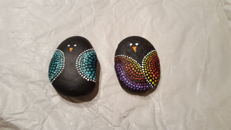 Flussstein DIY bemalen mit Acrylfarbe - Mandalastein - Kleine Vögel