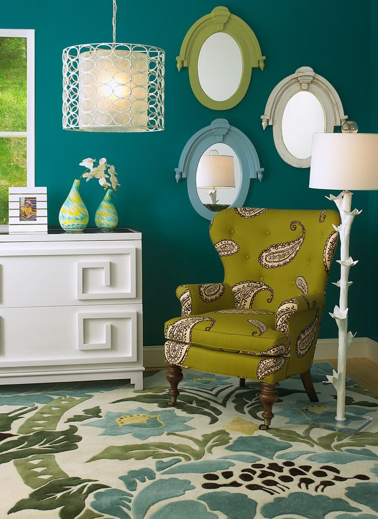Dark teal walls accented by chartreuse, aqua and white. Jewel-like and perfect.Wall Colors, Colors Combos, Chairs, Room Colors, Green, Living Room, Colors Combinations, Colors Schemes, Dark Teal