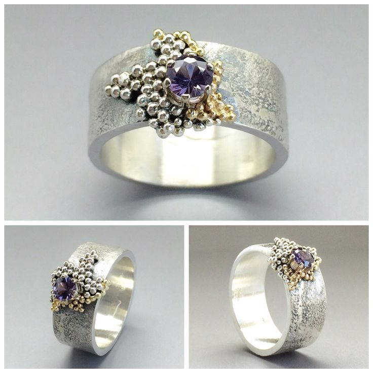 Silver ring with a spinel gemstone and gold/silver granules. Ring is made by Sarah Kobak. A Goldsmith with a studio and jewelry gallery in Zaandijk, the Netherlands. For more information, please visit www.sarahkobak.nl