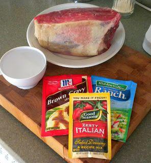 Zesty Crock Pot Beef 3 ½ - 5 lb. Beef rump roast or bottom round 1 C. water 1 pkg. Zesty Italian salad dressing mix 1 pkg. Ranch Dressing mix 1 pkg. Brown Gravy mix 1 crock pot No Ideas: 3 Things I Did With....