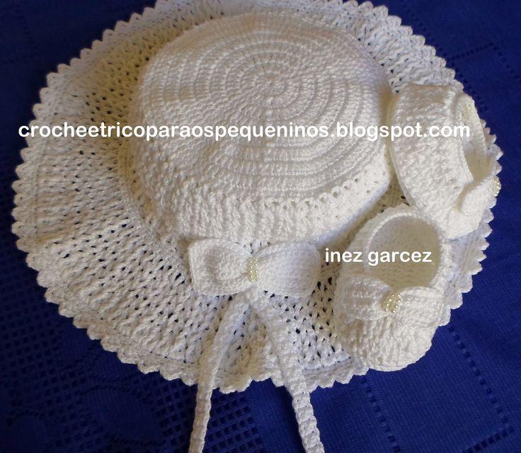 CROCHE E TRICO PARA OS PEQUENINOS: Chapéu de crochê para bebe no ponto Sonia Maria