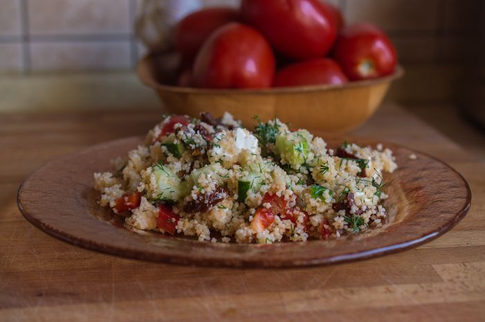 Light and aromatic salad with couscous