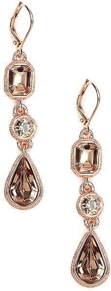 Givenchy Rose Goldtone Crystal Drop Earrings ~ Colette Le Mason @}-,-;—-