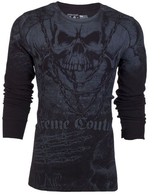 Xtreme Couture AFFLICTION Men THERMAL T-Shirt KILLER Tattoo Biker UFC M-3XL $58 #Affliction #GraphicTee