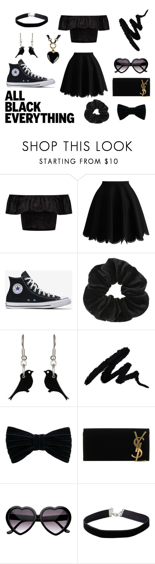 """widow nymph"" by electrasweetheart on Polyvore featuring Miss Selfridge, Alexandre Birman, Yves Saint Laurent, Emilio Pucci and allblackoutfit"