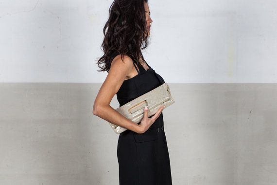 Golden clutch bag, in goat leather
