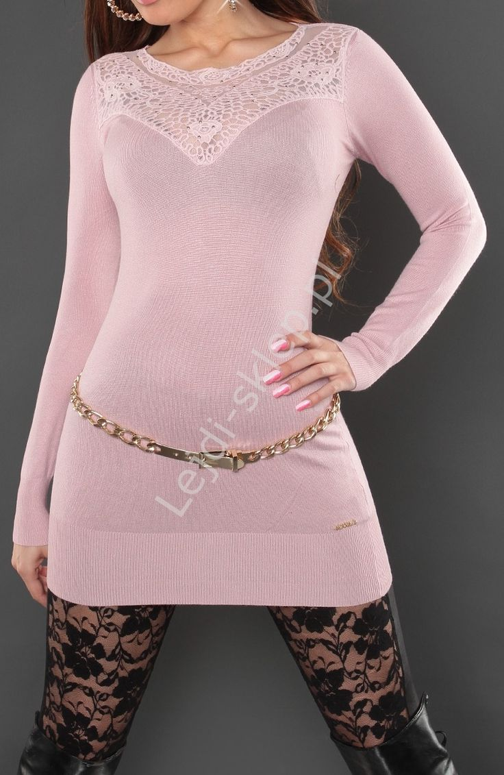 Sweater powder pink. Tuniki - pudrowy sweter