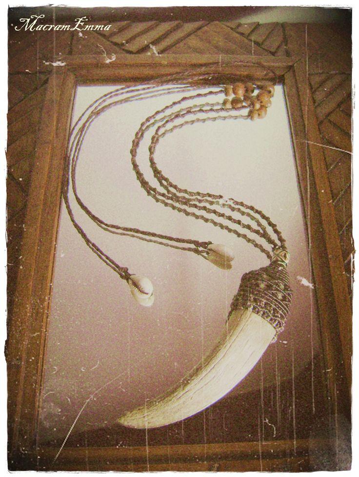Natural Bone Macrame Necklace..by MacramEmma..