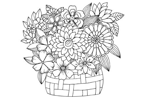 Bright image with free printable coloring pages for adults advanced flowers