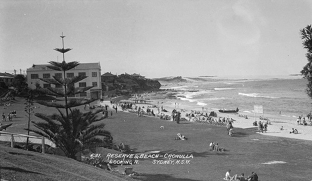 Reserve and beach, Cronulla, Sydney, ca. 1928 / Samuel Wood. http://acms.sl.nsw.gov.au/item/itemDetailPaged.aspx?itemID=411345. From the collection of the State Library of New South Wales www.sl.nsw.gov.au