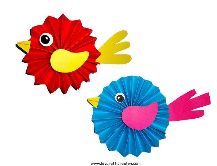 Addobbi Primavera - Uccellini a fisarmonica da appendere sul soffitto dell'aula di scuola a Primavera. UCCELLI DI CARTA Addobbi Primavera Materiale: 4 Fogl