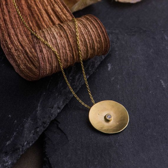 Disc Pendant Necklace in 14K Yellow Gold set with Natural Diamond, Natural Diamond Necklace Pendant, 14K Gold Necklace, Handmade Jewelry