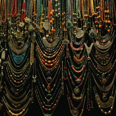 Jewelry for sale at Istanbul market -- deep colors