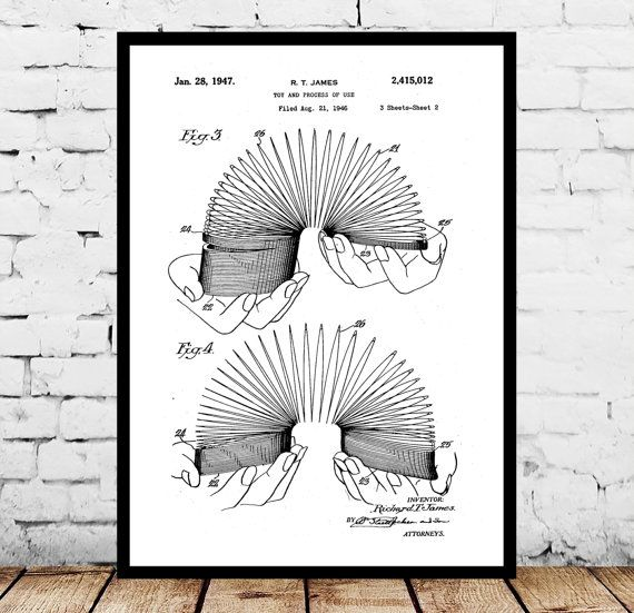 Slinky Toy Print, Slinky Toy Poster, Slinky Toy Patent, Slinky Toy Decor, Slinky Toy Art, Slinky Toy Wall Art, Slinky Toy Blue Print, Slinky by STANLEYprintHOUSE  1.00 USD  We use only top quality archival inks and heavyweight matte fine art papers and high end printers to produce a stunning quality print that's made to last.  Any of these posters will make a great affordable gift, or tie any room together.  Please choose between different sizes and col ..  https://www.etsy.com/ca/..